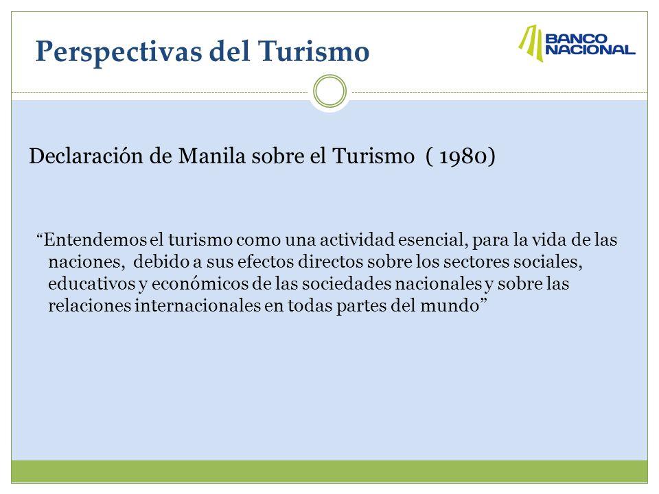 Perspectivas del Turismo Declaración de Manila sobre el Turismo ( 1980) Entendemos el turismo como una actividad esencial, para la vida de las naciones, debido a sus efectos directos sobre los sectores sociales, educativos y económicos de las sociedades nacionales y sobre las relaciones internacionales en todas partes del mundo
