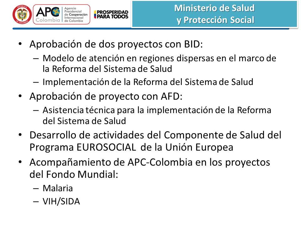 Ministerio de Salud y Protección Social y Protección Social Ministerio de Salud y Protección Social y Protección Social Aprobación de dos proyectos con BID: – Modelo de atención en regiones dispersas en el marco de la Reforma del Sistema de Salud – Implementación de la Reforma del Sistema de Salud Aprobación de proyecto con AFD: – Asistencia técnica para la implementación de la Reforma del Sistema de Salud Desarrollo de actividades del Componente de Salud del Programa EUROSOCIAL de la Unión Europea Acompañamiento de APC-Colombia en los proyectos del Fondo Mundial: – Malaria – VIH/SIDA