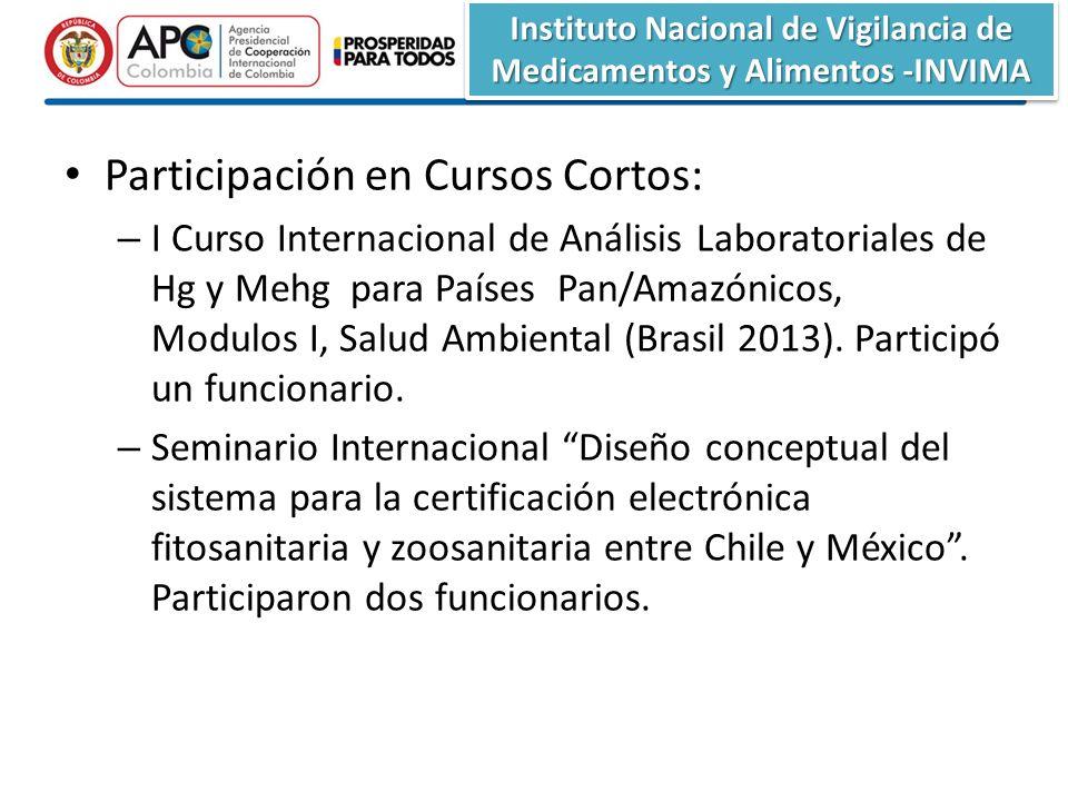 Instituto Nacional de Vigilancia de Medicamentos y Alimentos -INVIMA Participación en Cursos Cortos: – I Curso Internacional de Análisis Laboratoriales de Hg y Mehg para Países Pan/Amazónicos, Modulos I, Salud Ambiental (Brasil 2013).