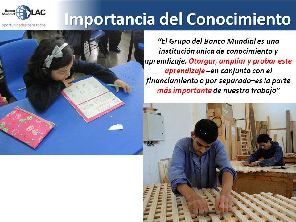 Importancia del Conocimiento El Grupo del Banco Mundial es una institución única de conocimiento y aprendizaje. Otorgar, ampliar y probar este aprendi