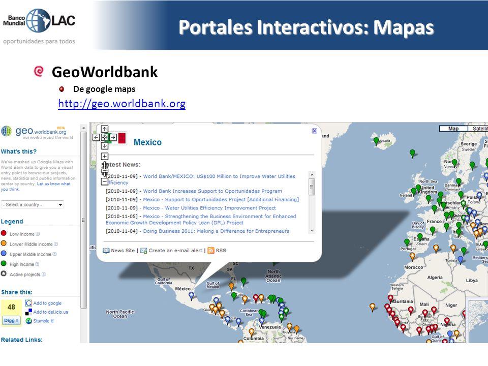 GeoWorldbank De google maps http://geo.worldbank.org Portales Interactivos: Mapas