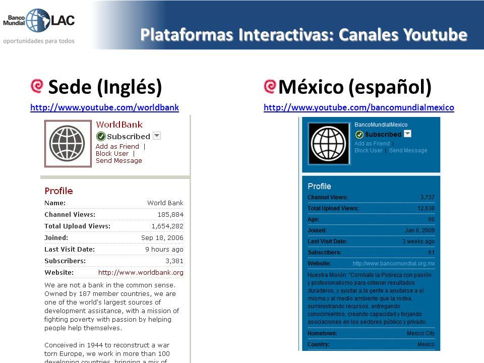 Plataformas Interactivas: Canales Youtube Sede (Inglés) http://www.youtube.com/worldbank México (español) http://www.youtube.com/bancomundialmexico