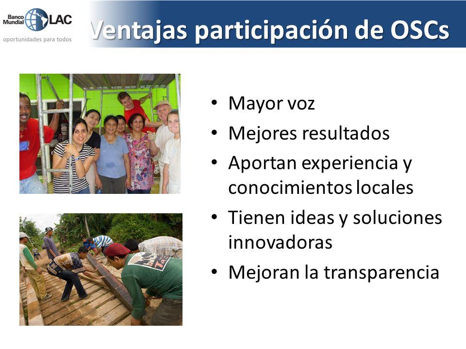 Ventajas participación de OSCs Mayor voz Mejores resultados Aportan experiencia y conocimientos locales Tienen ideas y soluciones innovadoras Mejoran