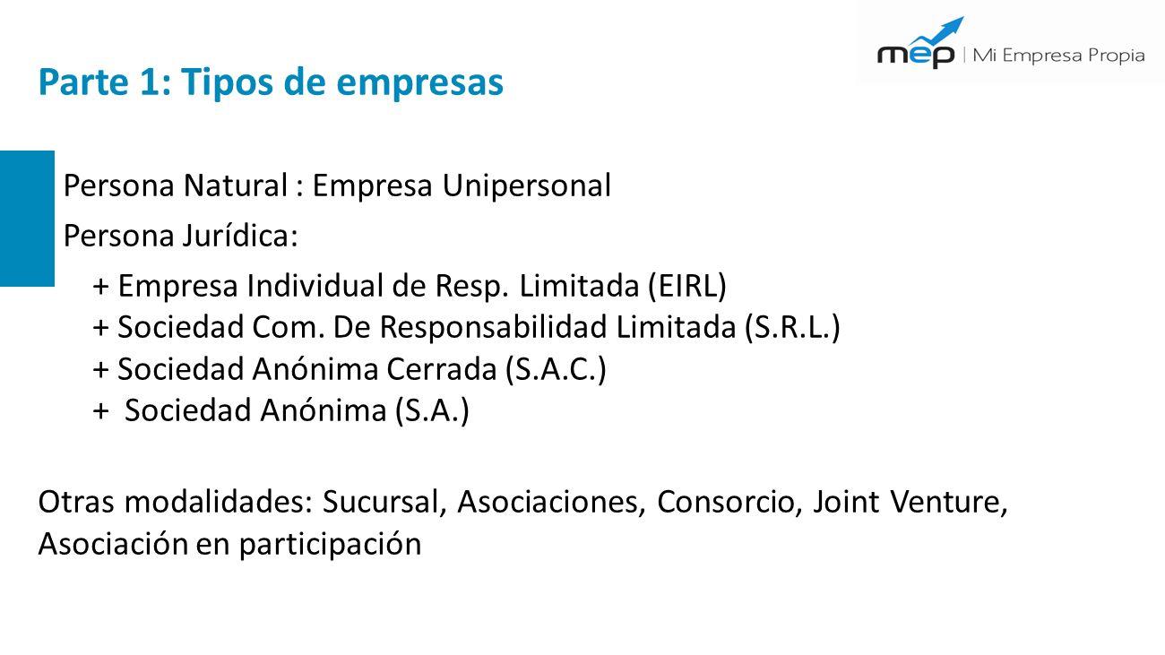 Parte 1: Tipos de empresas + Persona Natural : Empresa Unipersonal + Persona Jurídica: + Empresa Individual de Resp.