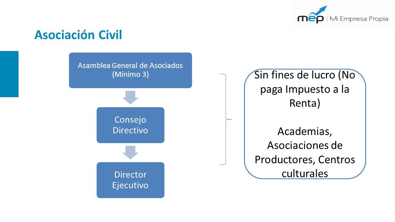 Asociación Civil Sin fines de lucro (No paga Impuesto a la Renta) Academias, Asociaciones de Productores, Centros culturales Asamblea General de Asociados (Mínimo 3) Consejo Directivo Director Ejecutivo