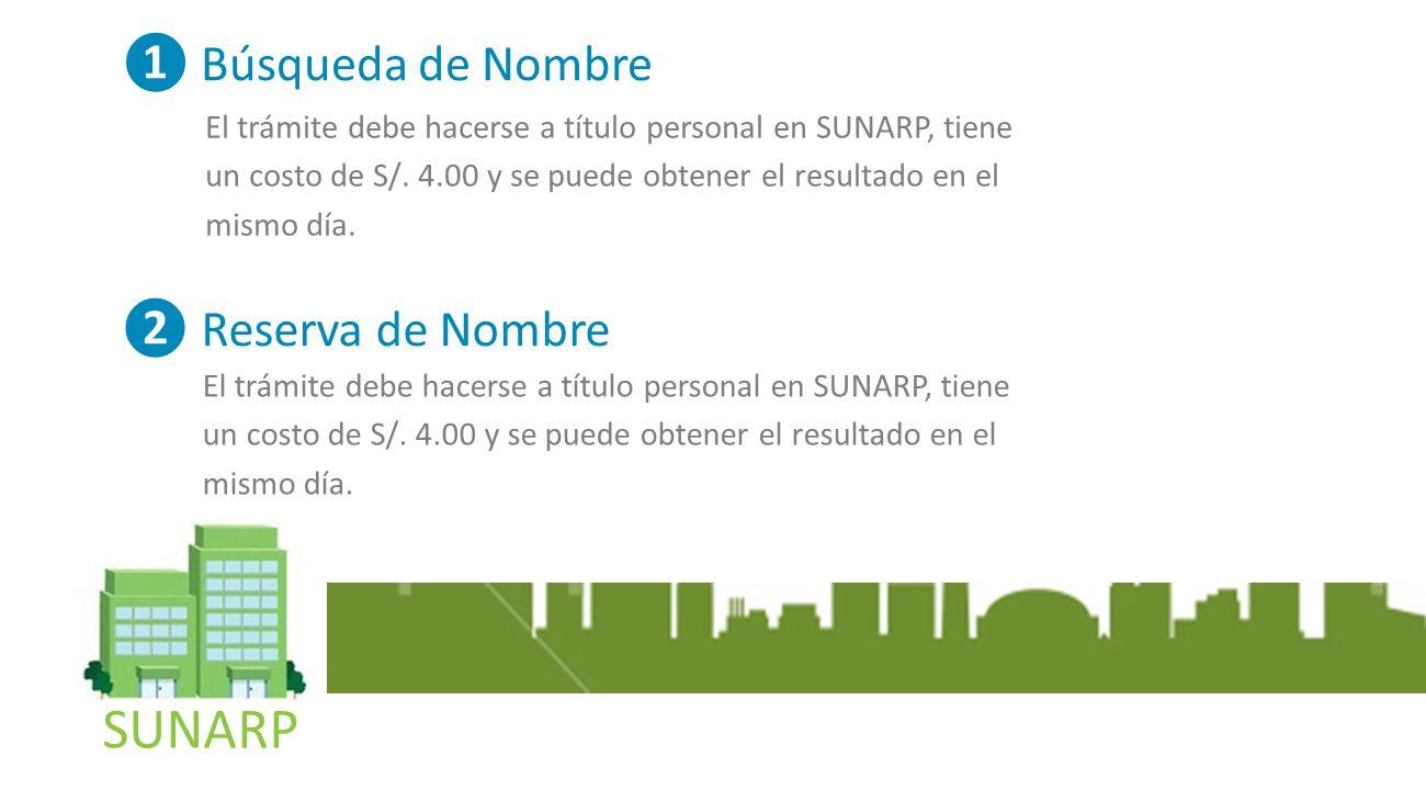 SUNARP Búsqueda de Nombre El trámite debe hacerse a título personal en SUNARP, tiene un costo de S/.