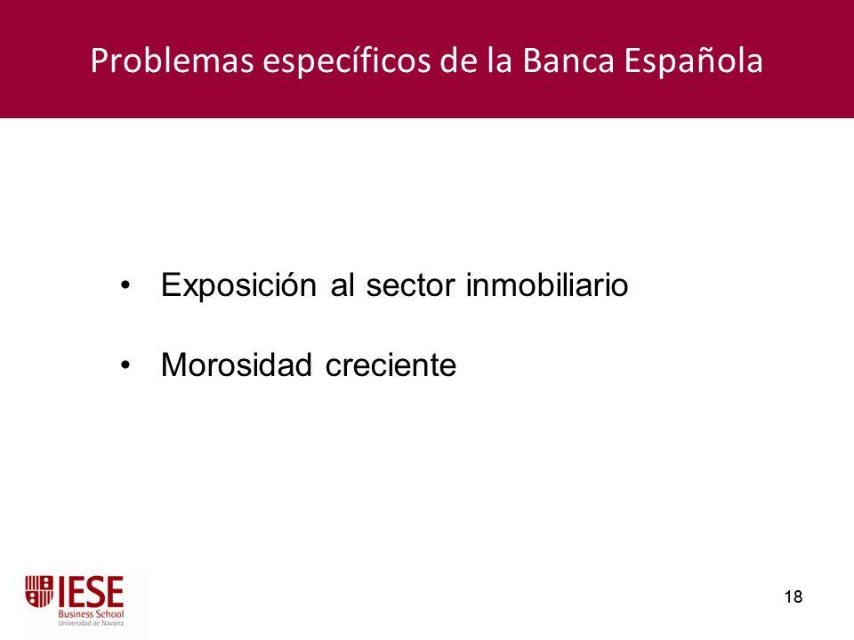 18 Problemas específicos de la Banca Española Exposición al sector inmobiliario Morosidad creciente