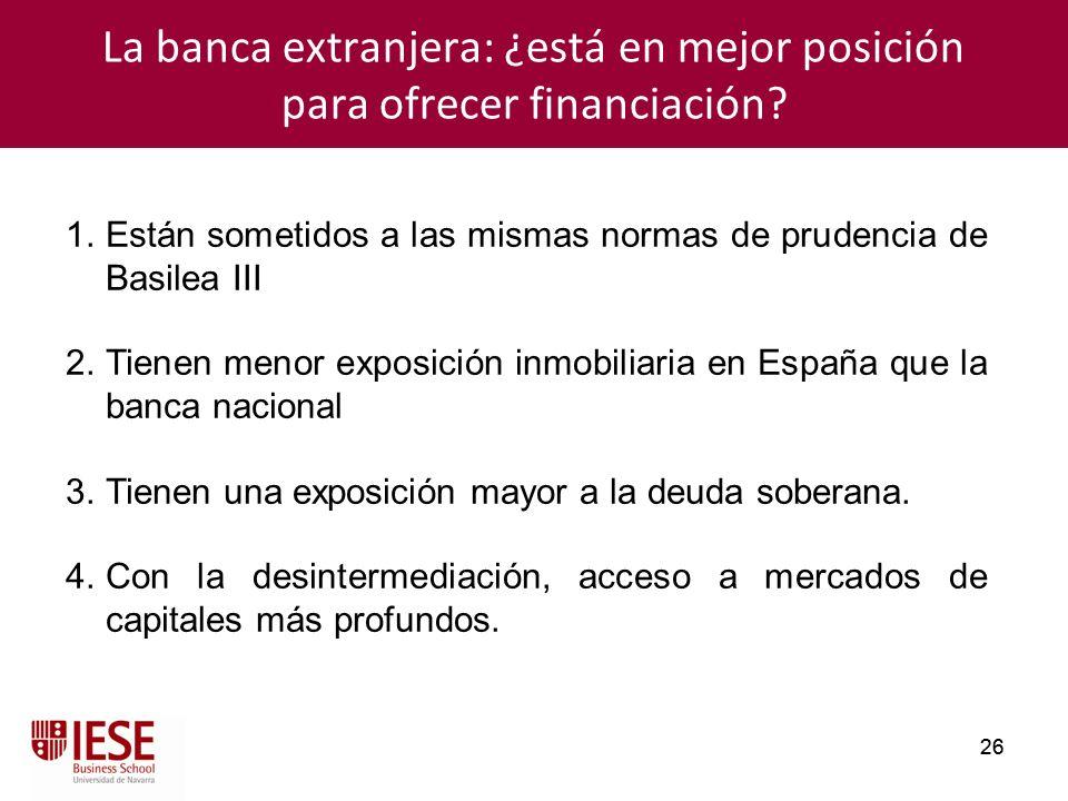 26 La banca extranjera: ¿está en mejor posición para ofrecer financiación? 1.Están sometidos a las mismas normas de prudencia de Basilea III 2.Tienen