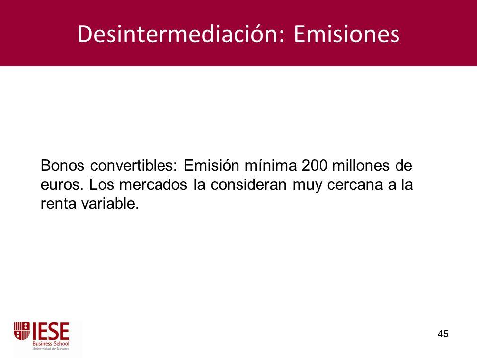45 Desintermediación: Emisiones Bonos convertibles: Emisión mínima 200 millones de euros. Los mercados la consideran muy cercana a la renta variable.