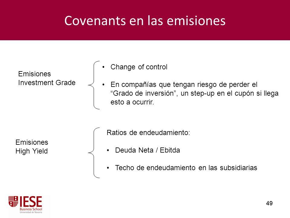 49 Covenants en las emisiones Change of control En compañías que tengan riesgo de perder el Grado de inversión, un step-up en el cupón si llega esto a