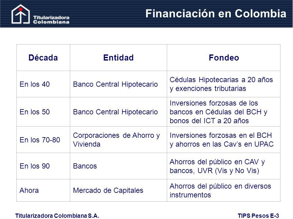 Titularizadora Colombiana S.A. TIPS Pesos E-3 Áreas de Tolerancia