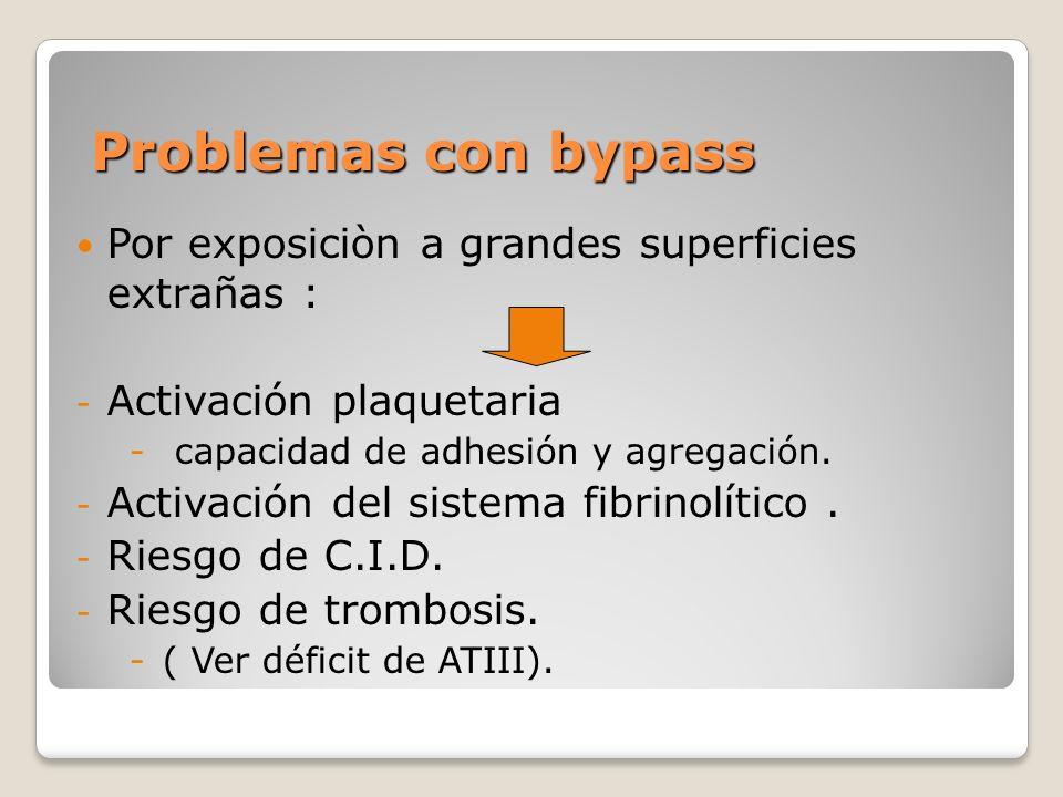 Problemas con bypass Por exposiciòn a grandes superficies extrañas : - Activación plaquetaria - capacidad de adhesión y agregación.