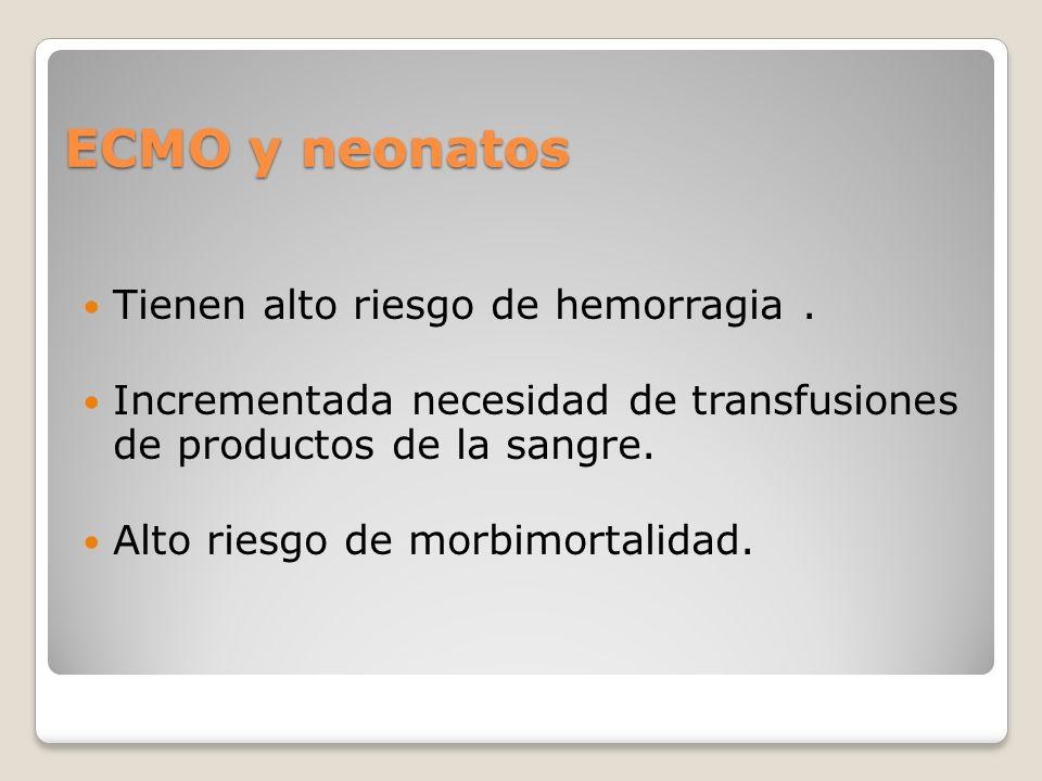 ECMO y neonatos Tienen alto riesgo de hemorragia.