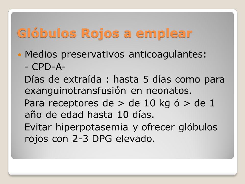 Glóbulos Rojos a emplear Medios preservativos anticoagulantes: - CPD-A- Días de extraída : hasta 5 días como para exanguinotransfusión en neonatos.