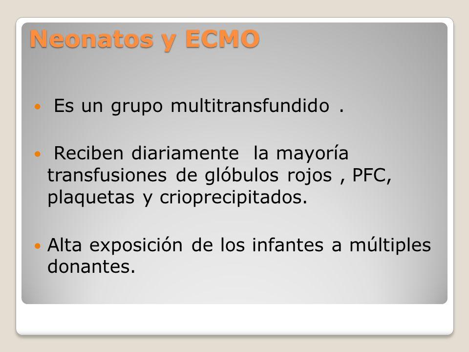 Neonatos y ECMO Es un grupo multitransfundido.