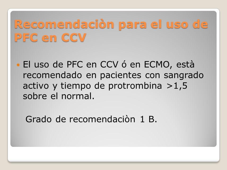 Recomendaciòn para el uso de PFC en CCV El uso de PFC en CCV ó en ECMO, està recomendado en pacientes con sangrado activo y tiempo de protrombina >1,5 sobre el normal.
