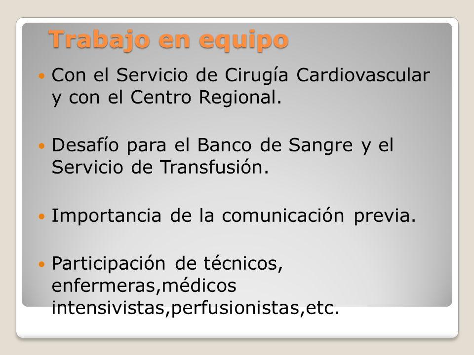 Trabajo en equipo Trabajo en equipo Con el Servicio de Cirugía Cardiovascular y con el Centro Regional.