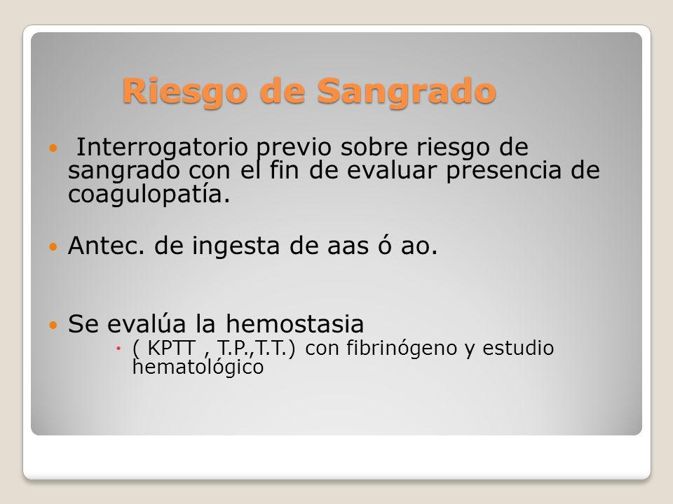 Riesgo de Sangrado Riesgo de Sangrado Interrogatorio previo sobre riesgo de sangrado con el fin de evaluar presencia de coagulopatía.