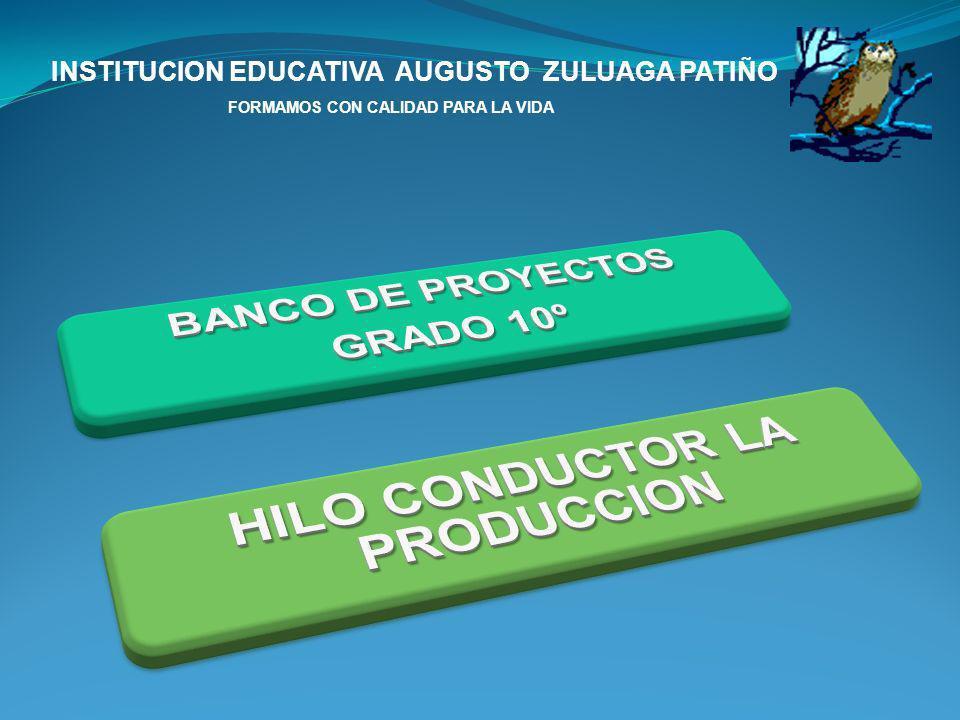 INSTITUCION EDUCATIVA AUGUSTO ZULUAGA PATIÑO FORMAMOS CON CALIDAD PARA LA VIDA PROYECTOS PRODUCTIVOS