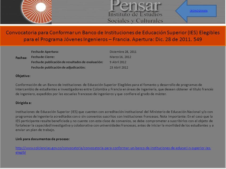 Convocatoria para Conformar un Banco de Instituciones de Educación Superior (IES) Elegibles para el Programa Jóvenes Ingenieros – Francia. Apertura: D