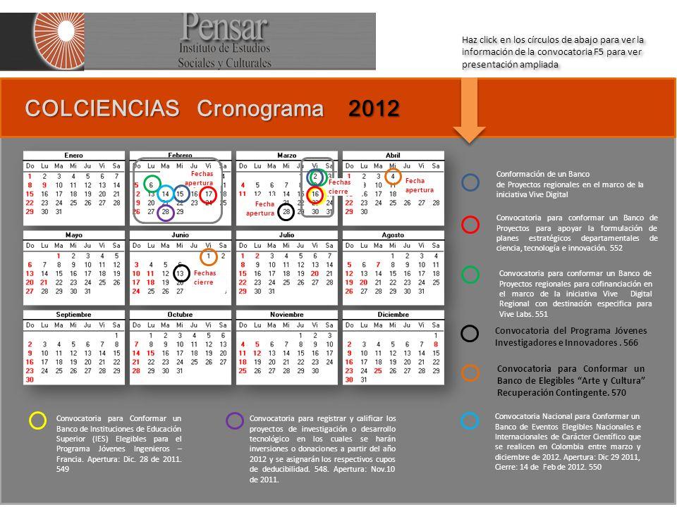 COLCIENCIAS Cronograma 2012 COLCIENCIAS Cronograma 2012 Conformación de un Banco de Proyectos regionales en el marco de la iniciativa Vive Digital Convocatoria para conformar un Banco de Proyectos para apoyar la formulación de planes estratégicos departamentales de ciencia, tecnología e innovación.