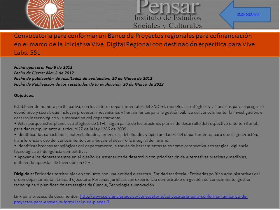 Convocatoria para conformar un Banco de Proyectos regionales para cofinanciación en el marco de la iniciativa Vive Digital Regional con destinación especifica para Vive Labs.