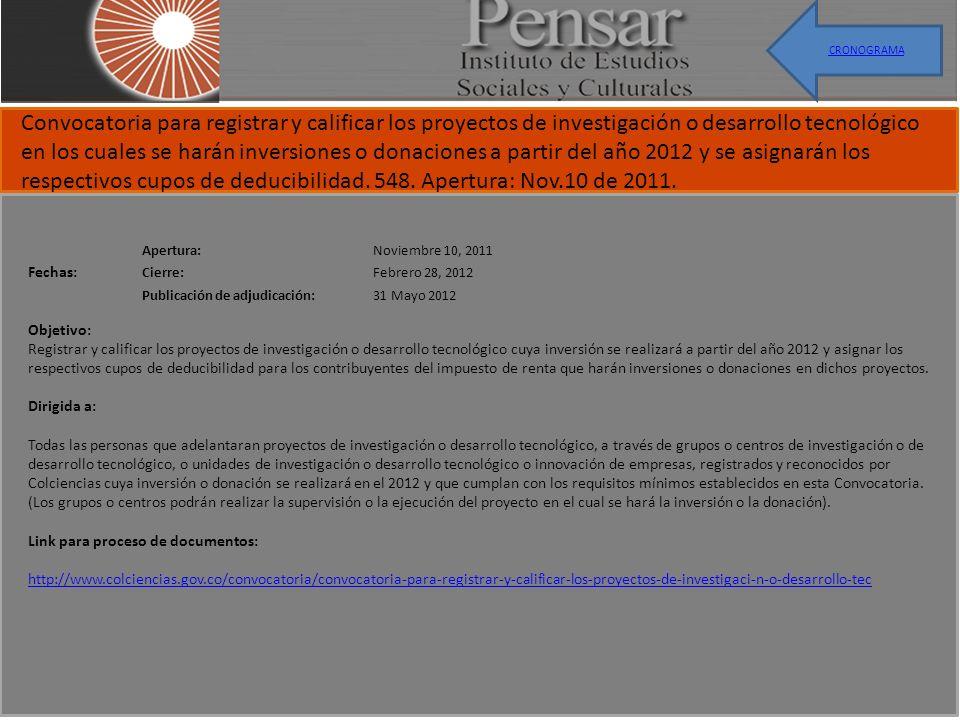 Apertura:Noviembre 10, 2011 Cierre:Febrero 28, 2012 Publicación de adjudicación:31 Mayo 2012 Convocatoria para registrar y calificar los proyectos de