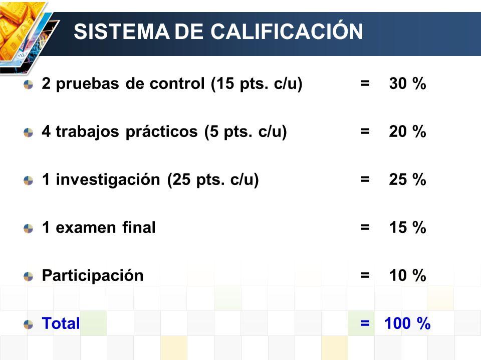 SISTEMA DE CALIFICACIÓN 2 pruebas de control (15 pts. c/u)= 30 % 4 trabajos prácticos (5 pts. c/u)= 20 % 1 investigación (25 pts. c/u)= 25 % 1 examen