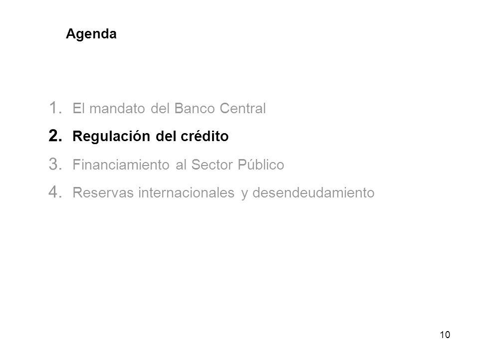 10 Agenda 1. El mandato del Banco Central 2. Regulación del crédito 3. Financiamiento al Sector Público 4. Reservas internacionales y desendeudamiento