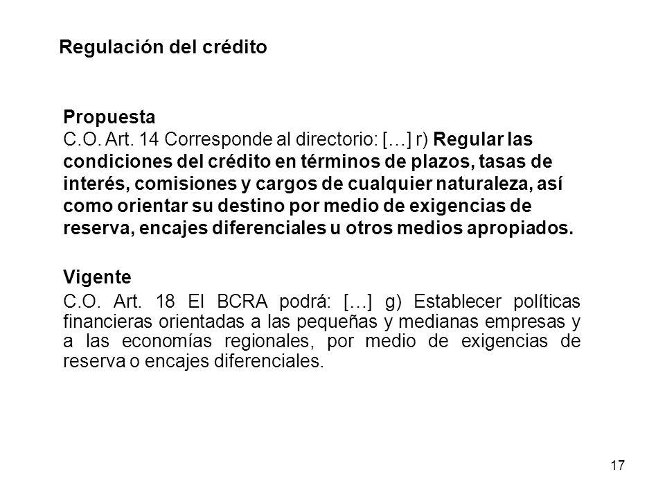 17 Regulación del crédito Propuesta C.O. Art. 14 Corresponde al directorio: […] r) Regular las condiciones del crédito en términos de plazos, tasas de