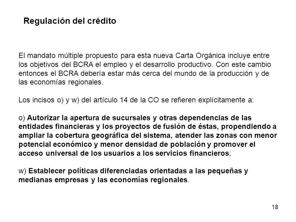 18 Regulación del crédito El mandato múltiple propuesto para esta nueva Carta Orgánica incluye entre los objetivos del BCRA el empleo y el desarrollo productivo.