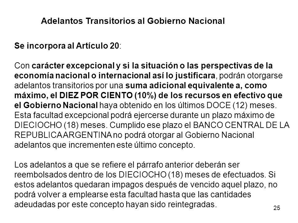 25 Adelantos Transitorios al Gobierno Nacional Se incorpora al Artículo 20: Con carácter excepcional y si la situación o las perspectivas de la econom
