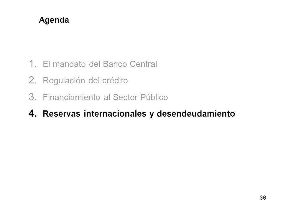 36 Agenda 1. El mandato del Banco Central 2. Regulación del crédito 3. Financiamiento al Sector Público 4. Reservas internacionales y desendeudamiento