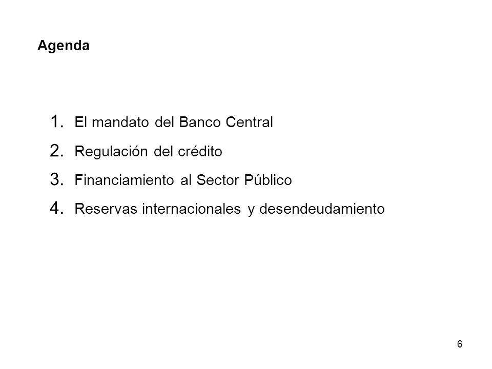 6 Agenda 1. El mandato del Banco Central 2. Regulación del crédito 3. Financiamiento al Sector Público 4. Reservas internacionales y desendeudamiento