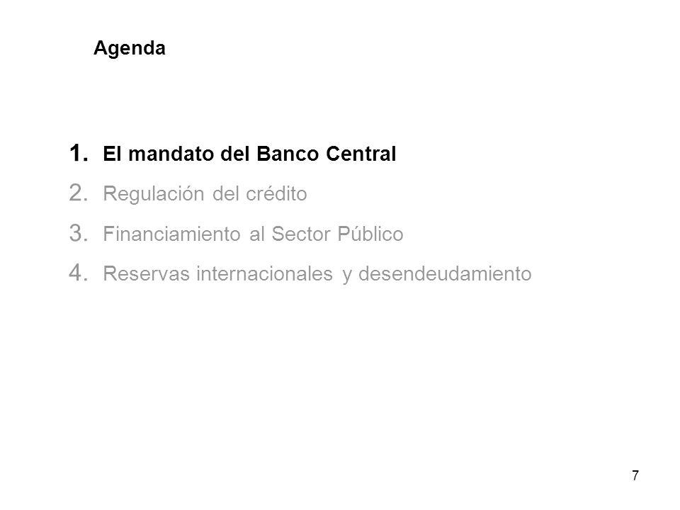 7 Agenda 1. El mandato del Banco Central 2. Regulación del crédito 3. Financiamiento al Sector Público 4. Reservas internacionales y desendeudamiento