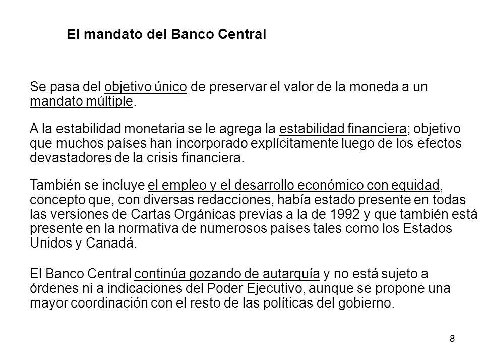 8 Se pasa del objetivo único de preservar el valor de la moneda a un mandato múltiple. A la estabilidad monetaria se le agrega la estabilidad financie
