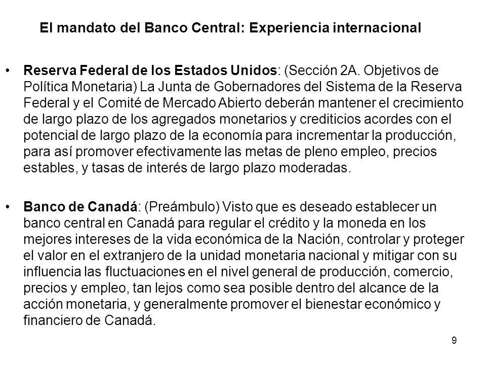 9 El mandato del Banco Central: Experiencia internacional Reserva Federal de los Estados Unidos: (Sección 2A. Objetivos de Política Monetaria) La Junt