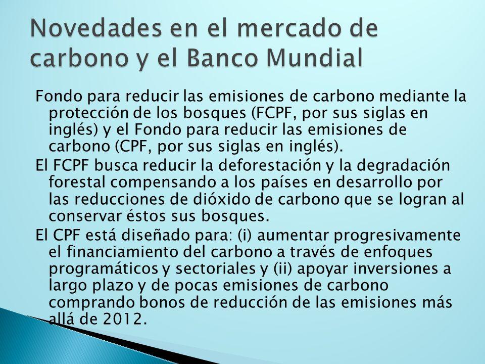 Fondo para reducir las emisiones de carbono mediante la protección de los bosques (FCPF, por sus siglas en inglés) y el Fondo para reducir las emisiones de carbono (CPF, por sus siglas en inglés).