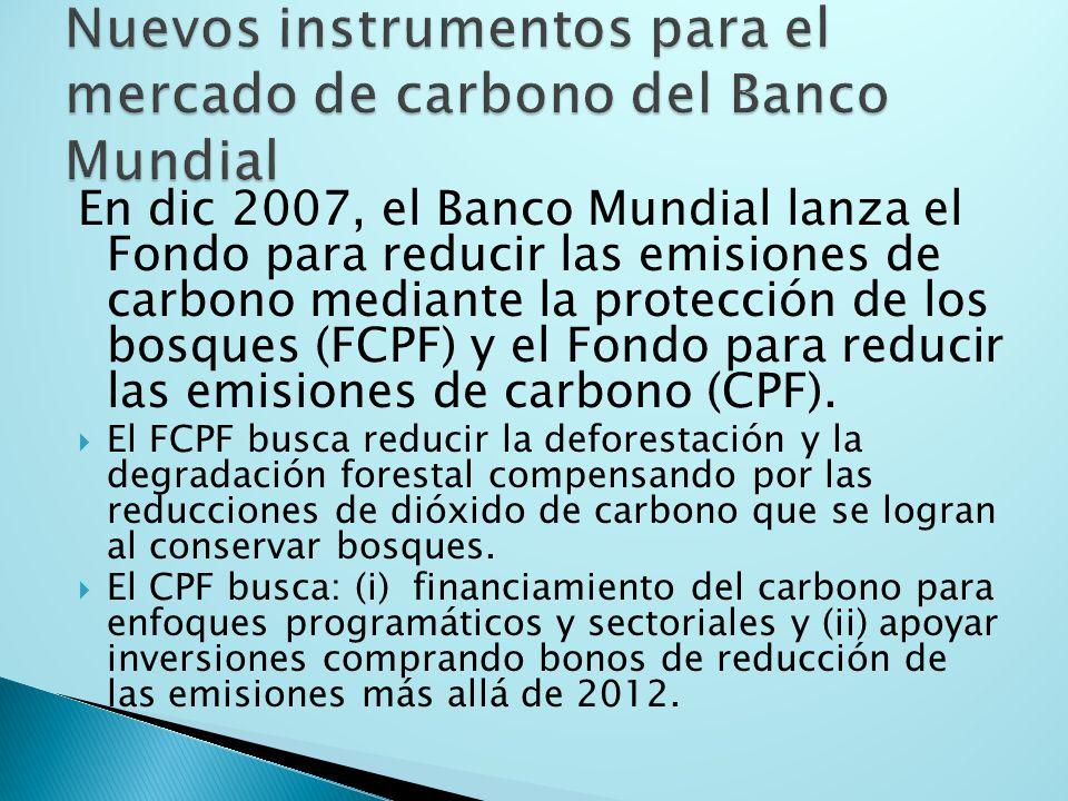 En dic 2007, el Banco Mundial lanza el Fondo para reducir las emisiones de carbono mediante la protección de los bosques (FCPF) y el Fondo para reducir las emisiones de carbono (CPF).
