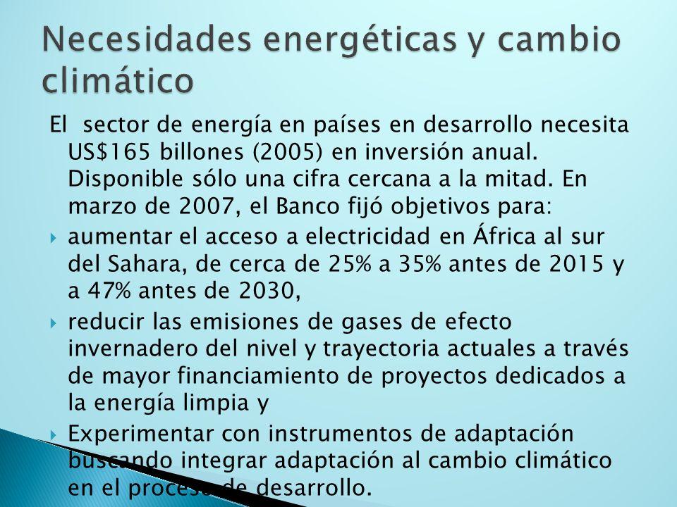 El sector de energía en países en desarrollo necesita US$165 billones (2005) en inversión anual.