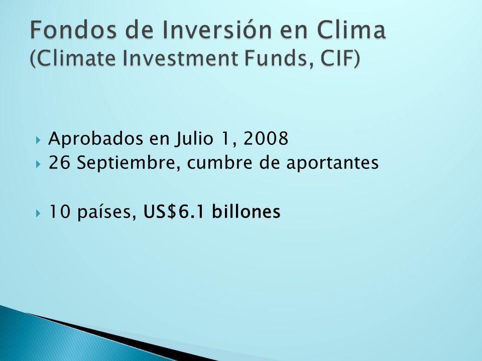 Aprobados en Julio 1, 2008 26 Septiembre, cumbre de aportantes 10 países, US$6.1 billones