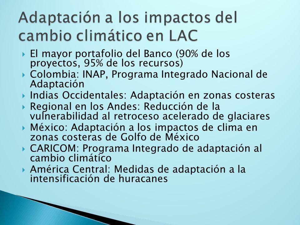 El mayor portafolio del Banco (90% de los proyectos, 95% de los recursos) Colombia: INAP, Programa Integrado Nacional de Adaptación Indias Occidentales: Adaptación en zonas costeras Regional en los Andes: Reducción de la vulnerabilidad al retroceso acelerado de glaciares México: Adaptación a los impactos de clima en zonas costeras de Golfo de México CARICOM: Programa Integrado de adaptación al cambio climático América Central: Medidas de adaptación a la intensificación de huracanes