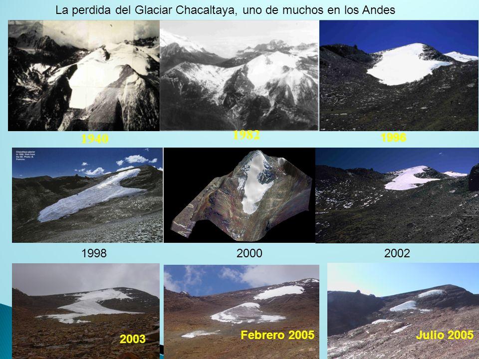 1940 1982 1996 199820002002 2003 Febrero 2005Julio 2005 La perdida del Glaciar Chacaltaya, uno de muchos en los Andes