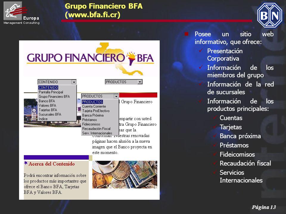 Página 13 Grupo Financiero BFA (www.bfa.fi.cr) Posee un sitio web informativo, que ofrece: Presentación Corporativa Información de los miembros del gr
