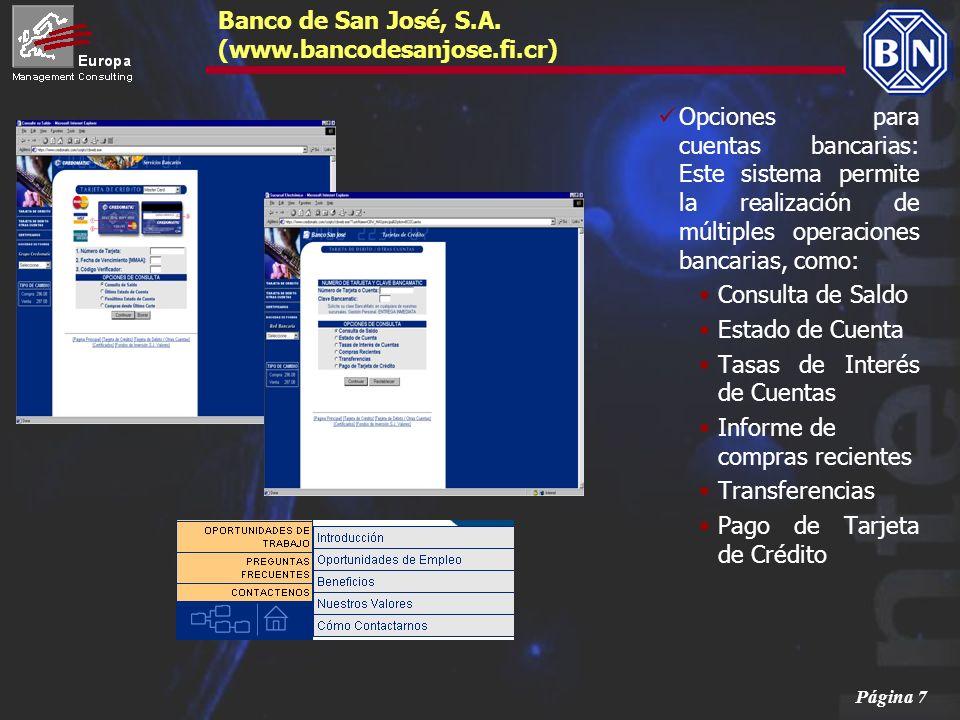 Página 8 Banco de San José, S.A.