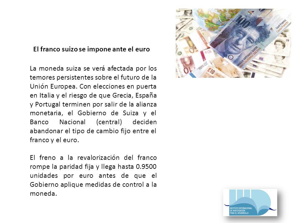 La moneda suiza se verá afectada por los temores persistentes sobre el futuro de la Unión Europea.