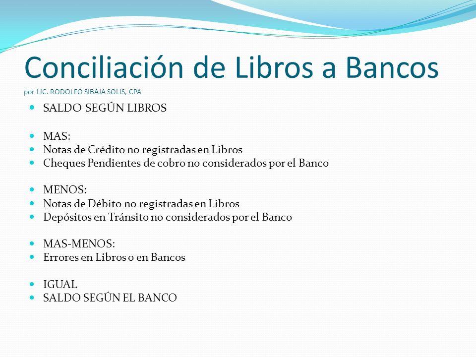 Conciliación de Libros a Bancos por LIC.
