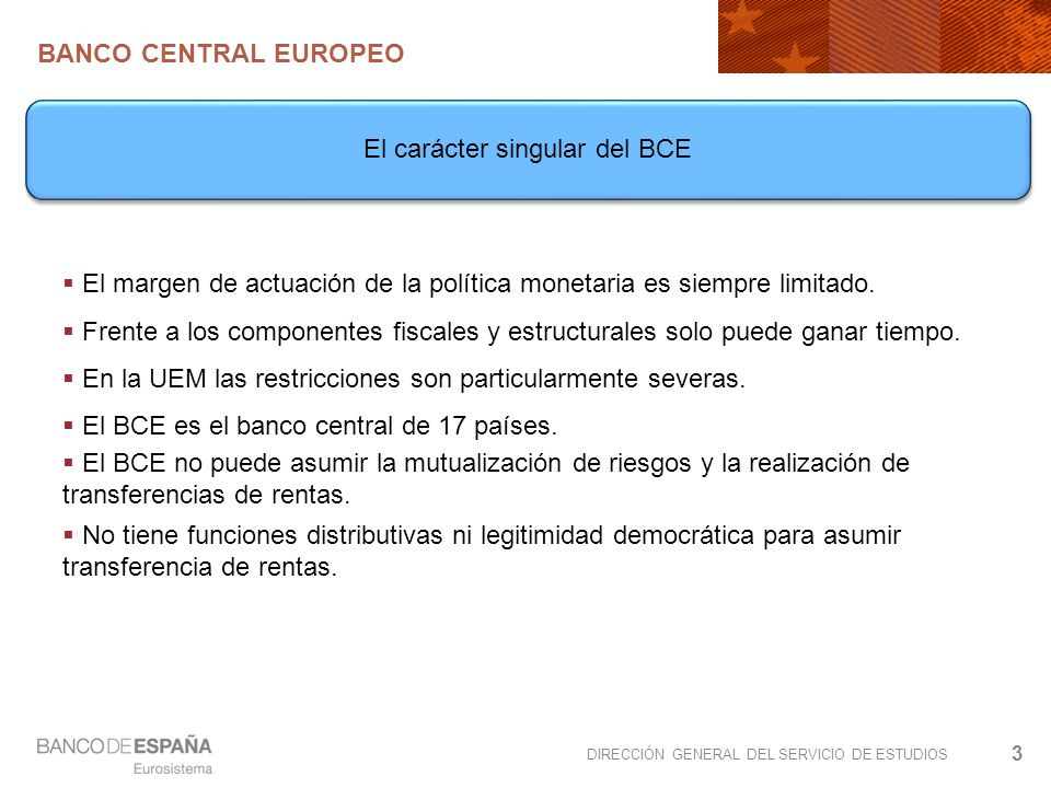 DIRECCIÓN GENERAL DEL SERVICIO DE ESTUDIOS BANCO CENTRAL EUROPEO 3 El margen de actuación de la política monetaria es siempre limitado.