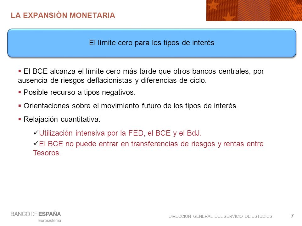 DIRECCIÓN GENERAL DEL SERVICIO DE ESTUDIOS LA EXPANSIÓN MONETARIA 7 El BCE alcanza el límite cero más tarde que otros bancos centrales, por ausencia de riesgos deflacionistas y diferencias de ciclo.