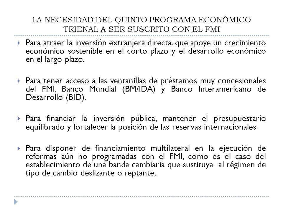 LA NECESIDAD DEL QUINTO PROGRAMA ECONÓMICO TRIENAL A SER SUSCRITO CON EL FMI Para atraer la inversión extranjera directa, que apoye un crecimiento eco